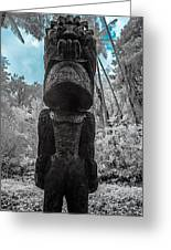 Tiki Man In Infrared Greeting Card by Jason Chu