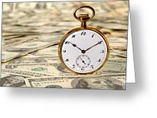 Time Is Over Money Greeting Card by Olivier Le Queinec