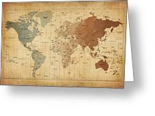 Time Zones Map Of The World Greeting Card by Michael Tompsett