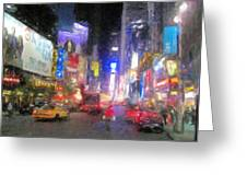 Times Square Street Level Greeting Card by Bud Anderson