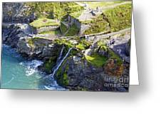 Tintagel Waterfalls Greeting Card by Rod Jones