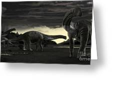 Titanosaurs In The First Storm Greeting Card by Rodolfo Nogueira