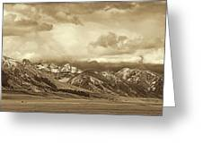 Tobacco Root Mountain Range Montana Sepia Greeting Card by Jennie Marie Schell