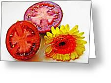 Tomato And Daisy 2 Greeting Card by Sarah Loft