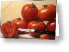 Tomatoes and a knife Greeting Card by BERNARD JAUBERT