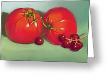 Tomatoes And Concord Grapes Greeting Card by Dessie Durham