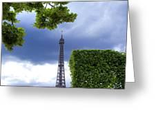 Top Of The Eiffel Tower. Paris. France. Greeting Card by Bernard Jaubert