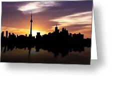 Toronto Canada Sunset Skyline Greeting Card by Aged Pixel