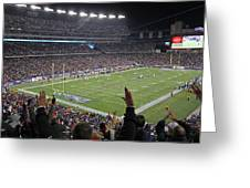 Touchdown Patriots Nation Greeting Card by Juergen Roth