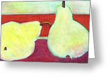 Touching Pears Art Painting Greeting Card by Blenda Studio