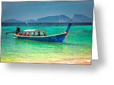 Tourist Longboat Greeting Card by Adrian Evans