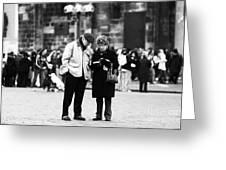 Tourists Greeting Card by John Rizzuto