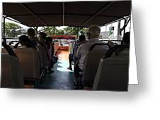 Tourists on the sight-seeing bus run by the Hippo company in Singapore Greeting Card by Ashish Agarwal