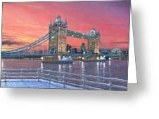 Tower Bridge After The Snow Greeting Card by Richard Harpum