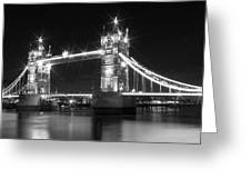 Tower Bridge By Night - Black And White Greeting Card by Melanie Viola
