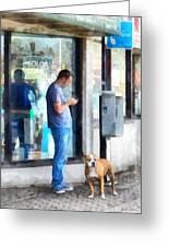 Towns - Pay Phone Greeting Card by Susan Savad