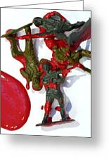 Toy Soldiers In A Pool Of Blood Greeting Card by Amy Cicconi