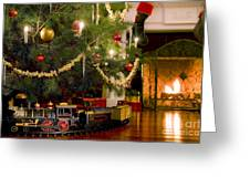 Toy Train Under The Christmas Tree Greeting Card by Diane Diederich