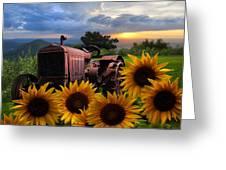 Tractor Heaven Greeting Card by Debra and Dave Vanderlaan