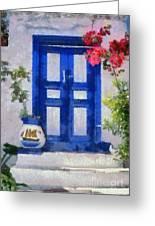 Traditional Door In Hydra Island Greeting Card by George Atsametakis