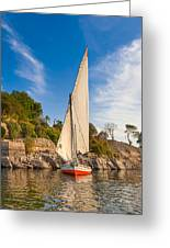 Traditional Egyptian Sailboat On The Nile Greeting Card by Mark Tisdale