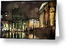 Trafalgar Square Rain Greeting Card by Heidi Hermes
