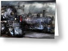 Train - Engine - 1218 - Waiting For Departure Greeting Card by Mike Savad