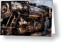 Train - Engine -  Now Boarding Greeting Card by Mike Savad