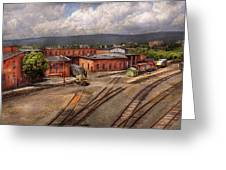 Train - Entering The Train Yard Greeting Card by Mike Savad