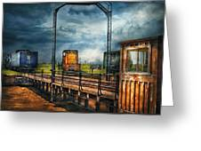 Train - Yard - On The Turntable Greeting Card by Mike Savad