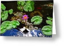 Tranquility - Lotus Flower Koi Pond By Sharon Cummings Greeting Card by Sharon Cummings