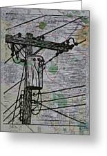 Transformer On Map Greeting Card by William Cauthern