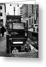 Travellers Exiting 34th Street Entrance To Penn Station Subway New York City Greeting Card by Joe Fox