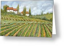Tre Case Bianche Nella Vigna Greeting Card by Guido Borelli
