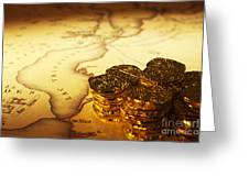 Treasure Map And Doubloons Greeting Card by Colin and Linda McKie
