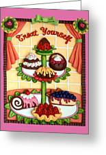 Treat Yourself Greeting Card by Amy Vangsgard