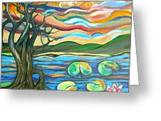 Tree And Lilies At Sunrise Greeting Card by Genevieve Esson