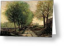 Tree-lined Avenue In A Small Town Greeting Card by Alfred Sisley