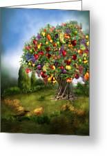 Tree Of Abundance Greeting Card by Carol Cavalaris