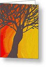 Tree On Fire Greeting Card by Abstract Digital
