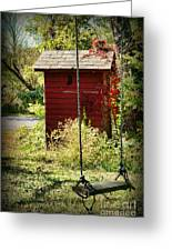 Tree Swing By The Outhouse Greeting Card by Paul Ward