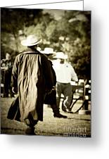 Trenchcoat Cowboy Greeting Card by Trish Mistric