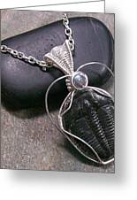 Trilobite Fossil And Labradorite Pendant Tril22 Greeting Card by Heather Jordan