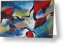Triphids In Red Greeting Card by Barbara Petersen