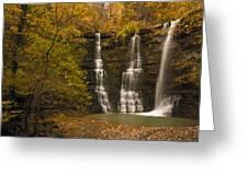 Triple Falls Greeting Card by Ryan Heffron