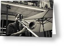 Trombone In New Orleans Greeting Card by David Morefield