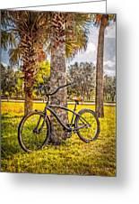Tropical Bicycle Greeting Card by Debra and Dave Vanderlaan