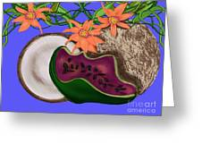 Tropical Fruit Greeting Card by Christine Fournier