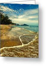 Tropical Waves Greeting Card by Adrian Evans