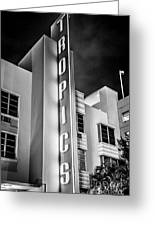 Tropics Hotel Art Deco District Sobe Miami - Black And White Greeting Card by Ian Monk